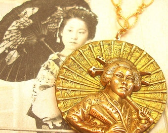 Mikado, Antique BUTTON necklace, Victorian geisha with umbrella, Antique Button Jewellery.
