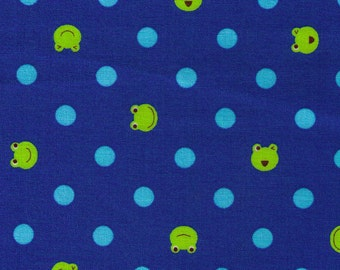 HALF YARD - Frog and Light Aqua Blue Polka Dots on Blue- Imported Japanese Fabric