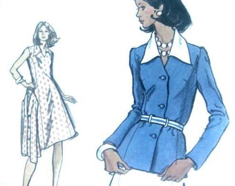 Vintage 80s Very Easy Vogue Sewing Pattern Misses Sleeveless Dress and Jacket Vogue 8542 Big Collar Suitable for Knits 34 Bust