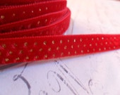 3/8 inch Ruby Red with Metallic Gold Dots Velvet Ribbon