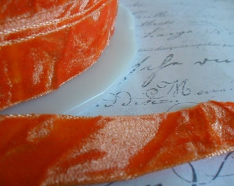 Orange Crushed Velvet Ribbon 5/8 wide