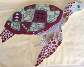 Turtle Mosaic Wall Hanging Sea Turtle red and goldFREE Shipping
