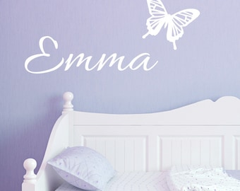 Name Wall Decal - Fancy Script Name & Butterfly Wall Decal - Personalized Wall Decal - Butterfly Wall Decal - Kids Decal - ND17