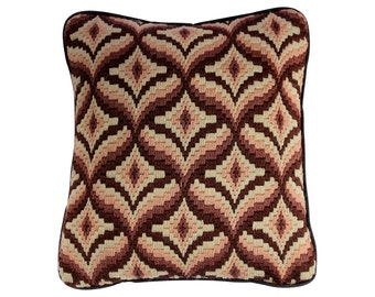 Vintage Needlepoint Pillow - Browns and Cream Bargello Pillow - Vintage 1970s - Art Deco Pattern