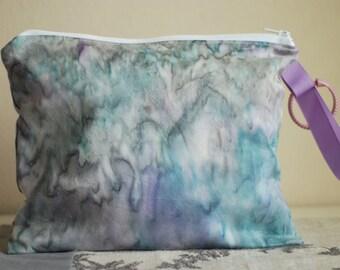 SALE  Zippered Wet Bag with Handle/Link Loop Combo  - Northern Lights