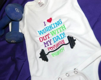 Working out with Daddy Personal Trainer Tshirt bodysuit Embroidered Lift Weights