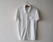 vintage 1990's lace white buttoned up secretary blouse