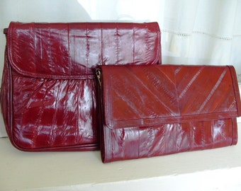 Vintage Burgundy Eel Skin Clutch and Purse Combo