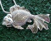 Goldfish metal pendant slide on 18in 2mm sterling silver snake chain
