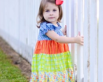 Tiered Dress Pattern - Baby Toddler Girl Sewing Pattern - PDF Long Sleeved Dress Pattern and Short