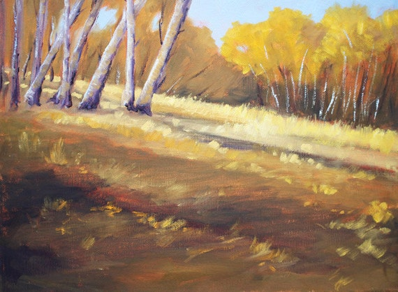 Landscape Oil Painting, Birch Trees, Autumn, Fall, Original, 11x14, Stretched Canvas, Wall Decor, Brown, Gold, Yellow, Field, Meadow, Hill