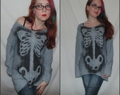 OVERSIZED SKELETON rib cage sweater/ sweater dress