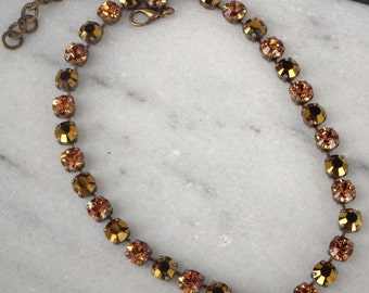 Swarovski crystal brown and gold 8mm fancy stone tennis style necklace,antique brass setting,light smoked topaz and gold dorado crystals
