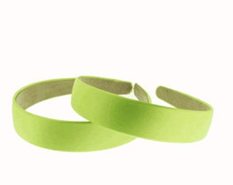 "2 pieces-25mm (1"") Satin Covered Headband in Apple Green"