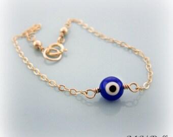 Dark Blue Evil Eye Bracelet. Gold Evil Eye Bracelet