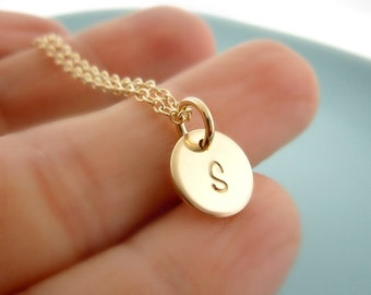 Personalized Initial Necklace. Monogram Necklace. Gold Initial Necklace. Handstamp Jewelry. Wedding Jewelry