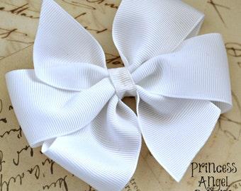 "White 4"" lagre Pinwheel Hair Bow-Solid Bow-Basic Bow"