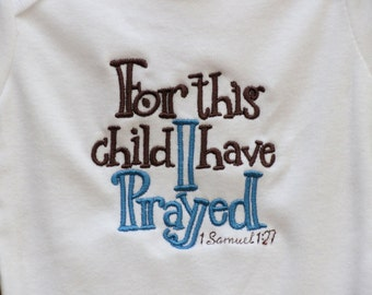 For This Child I Have Prayed Bodysuit Tshirt Blue Brown