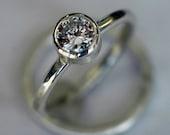 Moissanite Engagement Ring - Wedding Band - Wedding Ring Set -18 karat White Gold -  Forever Brilliant Moissanite - diamond alternative