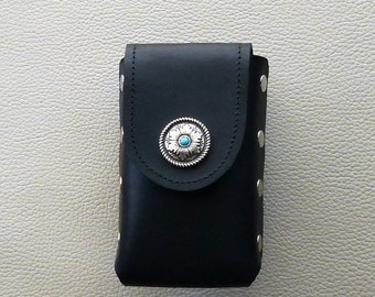 Black Leather Cigarette Case with Western Style Turquoise Concho