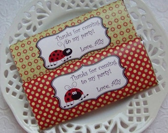 Printable Personalized Red Ladybug Birthday Large Candy Bar Wrappers