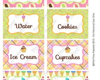 Printable Ice Cream Social Birthday Food Labels