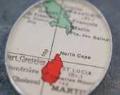 vintage Martinique, St. Lucia map pendant