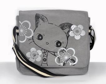 Kimono Kitty Canvas Vintage messenger bag