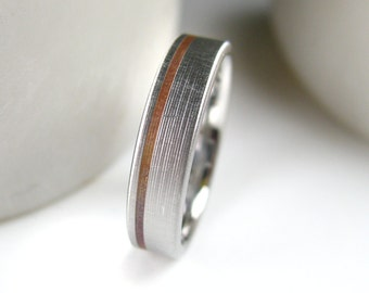 Men's Copper Inlay Wedding Band Comfort Fit