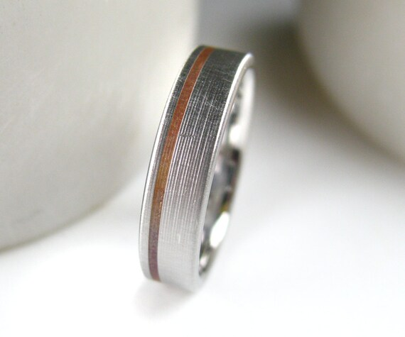 men 39 s copper inlay wedding band comfort fit by spexton on etsy