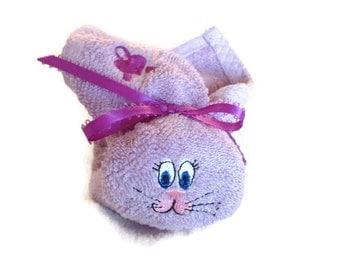 Boo-boo Purple Ribbon Boo-boo Bunny Rabbit Embroidered Basket Stuffer Heart Ribbon