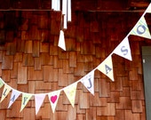 CUSTOM, Personalized Banner Bunting, Includes 15 Flags, Up to 13 Letters.  A Unique Party Decoration. Made To Order in Your Chosen Colors.