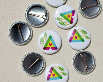 Pinback Button - Camping Love Pin- One Inch Badge by Oh Geez Design