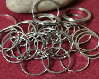 Antique silver tone circular link connector ring 18mm outer diameter, 12 pcs (item ID ASCL18m)
