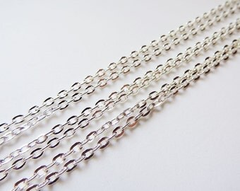 "One Silver Plated 18"" Necklace Chain 2 x 3 mm oval link"
