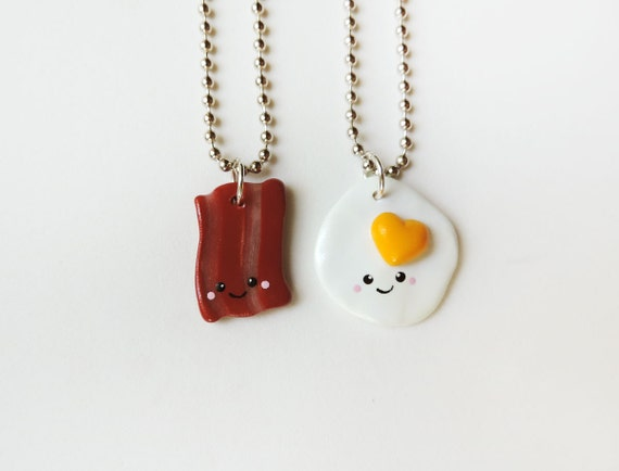bacon and eggs best friend necklace set polymer clay