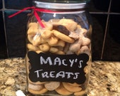 Medium Pet treat canister with chalkboard label -  portion given to charity for homeless animals; great gift idea for pet lover - fortreats