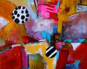 New Size!! SALE!, Org Pri 87.20 - 16 x 20 Print Stunning colors of Reds Teal Yellow Blues Contemporary Painting by Jodi Ohl
