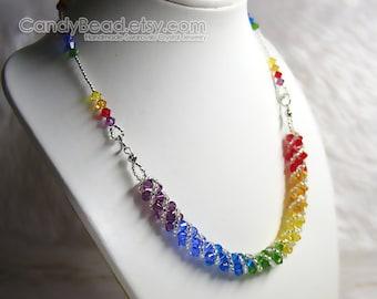 Swarovski necklace, Rainbow twisty Swarovski Crystal necklace by CandyBead