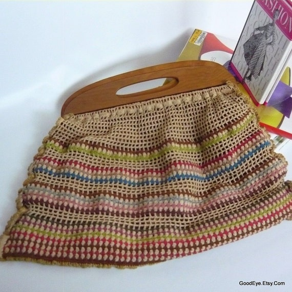Free Crochet Purse Patterns With Wooden Handles : Funky Crochet Handbag w Wooden Handle Handmade 1940s by ...