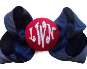 MONOGRAM 3-Letter Hair BOW - Personalized - Hair Bows Girls Navy Blue Bow with Red White hairbow hair bows for girls preppy school uniform