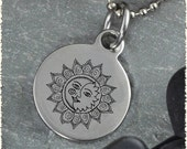 Sun & Moon Reversible Stainless Pendant