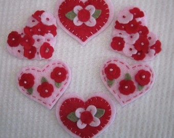 Large Red and Pink Felt Valentine Hearts