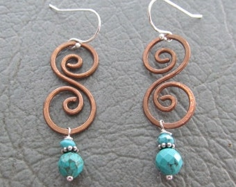 Copper Spirals with Turquoise dangles