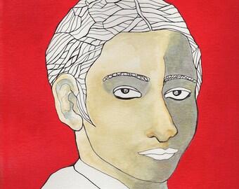 yearbook art, male portrait, 9 x 12