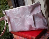 Retro Pink Wristlet - Chicory Wildflower Fabric