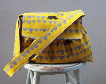 Yellow Rhinoceros Messenger Bag - 3 Pockets - Adjustable Strap - Key Fon