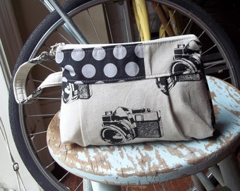Camera Zipper Pouch Wristlet - Zippered Top - Strap