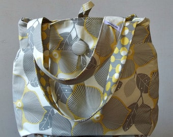 Grey Yellow Diaper Bag Extra Large - 6 pockets - Reversible - Key Fob