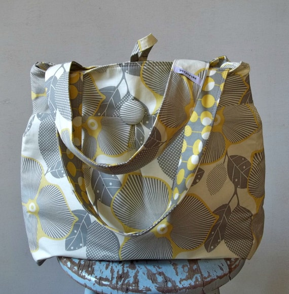 Grey Yellow Diaper Bag Extra Large 6 pockets by retrofied